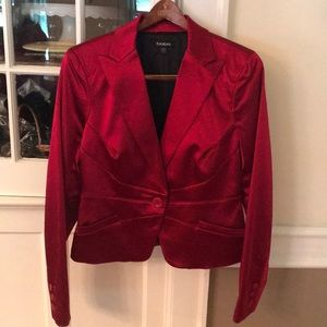bebe deep Red Satin Fitted Blazer